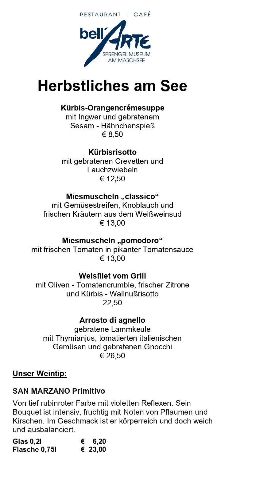 bell´ARTE im Sprengel Museum - Cafe und italienisches Restaurant in Hannover am Maschsee