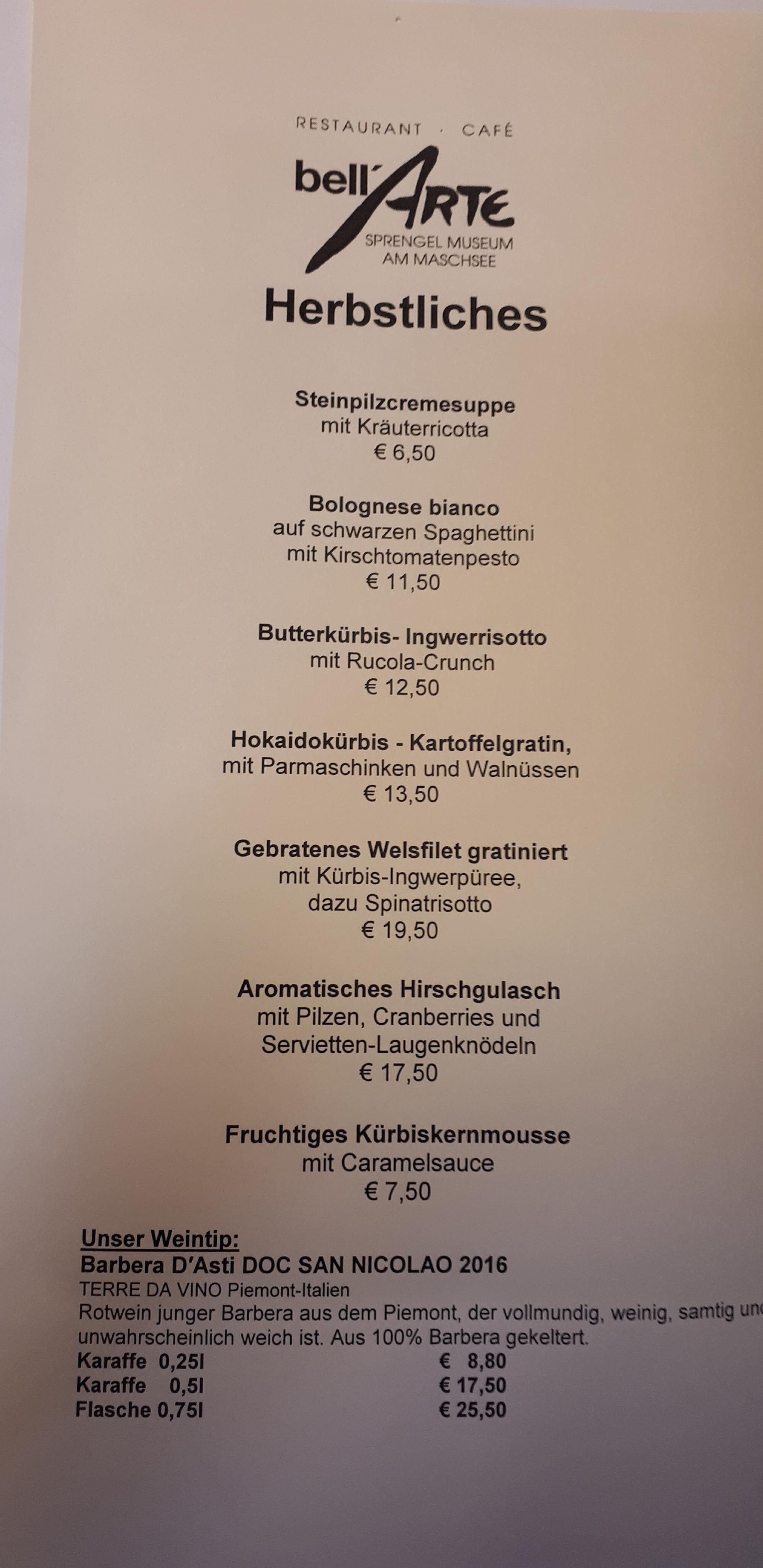 Hannover am Maschsee im Sprengel Museum - bell´ARTE italienisches Restaurant und Cafe in der Südstadt von Hannover